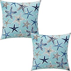 SIZE&MATERIAL: Standard decorative throw pillow covers size, 18x18 inch(45x45 cm). Printed on the pillow covers is very clear and vivid, the colors are very rich and vibrant. Our starfish couch pillow covers are sure to add freshness and vitality to ...