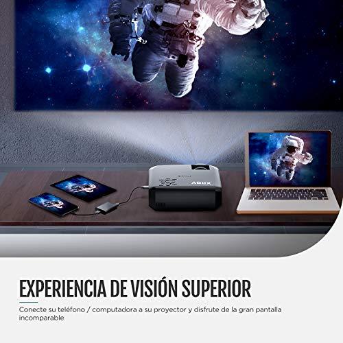Proyector ABOX Resolución Nativa 1280*720p 3600 Lúmenes, LED Video Mini Proyector Portátil A2, Soporte 1080P Full HD, Compatible con HDMI/VGA/AV/USB/Tarjeta SD/Android/iOS, Negro