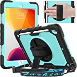 Timecity iPad 8th/ 7th Generation Case (iPad 10.2 Case 2020/2019) with Screen Protector Pencil Holder Rotating Kickstand Hand/Shoulder Strap.Durable Tablet Cover for iPad 10.2 inch-Black+Light Blue