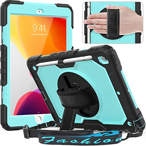 Timecity New iPad 7th Generation Case (iPad 10.2 Case 2019) with Screen Protector Pencil Holder Rotating Kickstand Hand/Shoulder Strap.Rugged Durable Tablet Cover for iPad 10.2 inch-Black+Light Blue