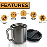 Stainless Steel Insulated Coffee Mug with Screw-on Lid - Camping Mug - Beer Mug - 18oz 540ml Thermal Mug with Handle