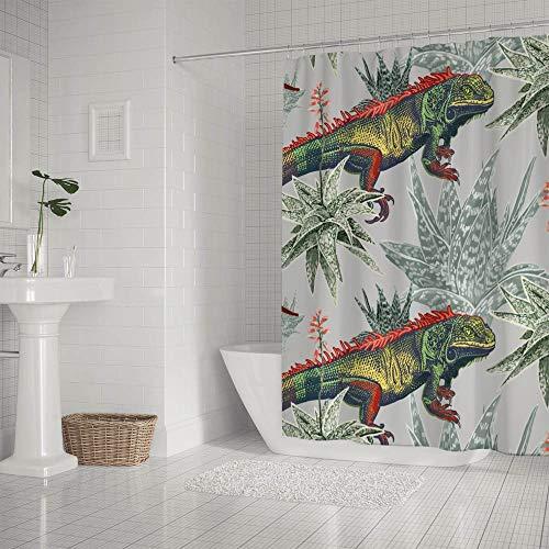 Ruchen Badezimmer-Duschvorhang, wasserdicht, mit 12 Haken, Blumen-Eidechse, Leguana, Aloe, Kakteen, exotische Blumen, Grau, 183 cm, Polyester, siehe Abbildung, 152.4×183cm
