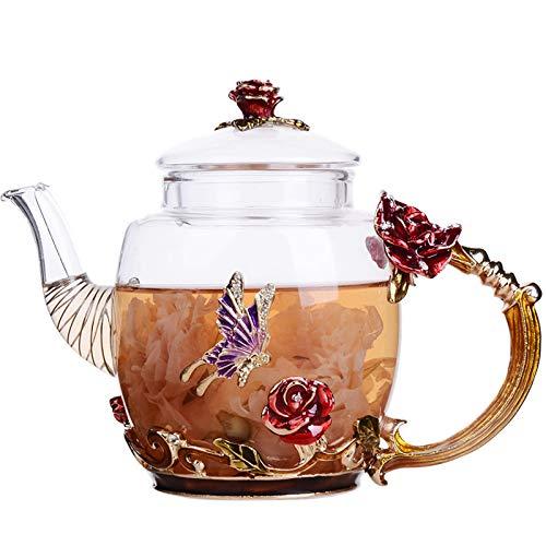 Tetera de Vidrio - 280 ml - Francia Esmalte Red Rose Flower Mariposa Decoración Tetera de Vidrio Resistente al Calor Tetera con colador para té floreciente, té de Hojas Sueltas