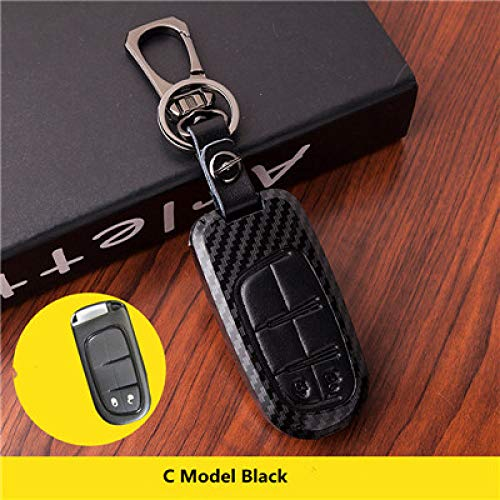 WDNMDQZ Schlüsseletui passend für FIAT Dodge Charger Durango Dart Challenger Jeep Chrysler 300C Grand Cherokee Kompass, Modell C schwarz