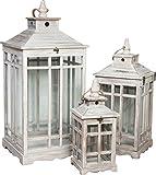 3 Lanterne da esterno in legno bianco anticato