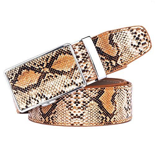 Herrengürtel Schlangenleder Mustergürtel Leder Automatikgürtel Herrengürtel Fashion Business Gürtel, Braun, 115Cm