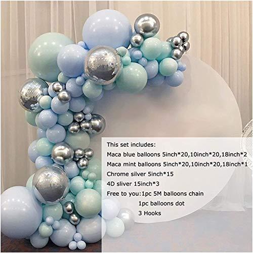 RTUTUR Decoración de Halloween Globos 103pcs DIY Pastel Macaron Blue Mint Balloon Guirnalda Sliver Arch Kit Cumpleaños Aniversario Aniversario Decoración de Fiesta Globos (Color : Not Pump Set)