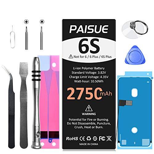 2750mAh Akku für iPhone 6S, 2021 Neu 0-Zyklus-Ersatzakku mit hoher Kapazität für iPhone 6S Modelle A1633 A1688 A1700 mit komplettem Werkzeugsatz, Klebstoff, Anleitung