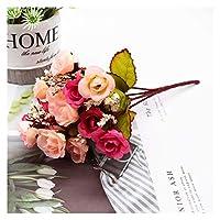造花 造花シルクローズDIYの結婚式のホームクリスマスの装飾花ローズギフト (Color : 22)