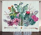 ABAKUHAUS Cactus Cortinas, Espinosa Flores de Boho, Sala de Estar Dormitorio Cortinas Ventana Set de Dos Paños, 280 x 175 cm, Multicolor