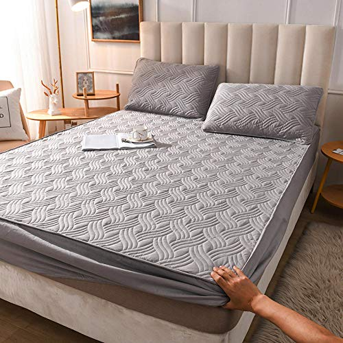 YFGY Fitted Sheet Extra Deep,Cotton Mattress Protector Mattress Topper,Hypoallergenic Bed Cover For Single Double Super King Bed 100 * 200cm Grey 2