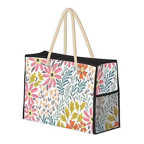 FJJLOVE Bolso de playa grande Bolso de hombro con estampado de flores silvestres simples para mujer - Bolso de mano con asas