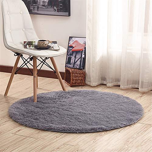 YUNSW Polyester Runden Teppich Dicken Plüsch Teppich Wohnzimmer Schlafzimmer rutschfeste Matte Waschbar Yoga-Teppich