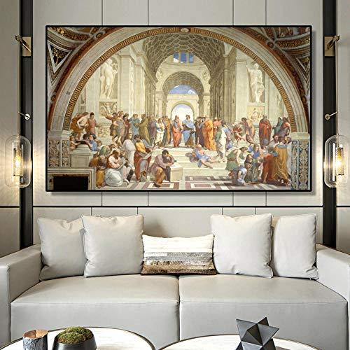 MhY Famosa Scuola d'Arte pittorica di Atene di Raffaello, Poster e Stampe su Tela Immagini per pareti per Soggiorno 60cm x100cm No Frame