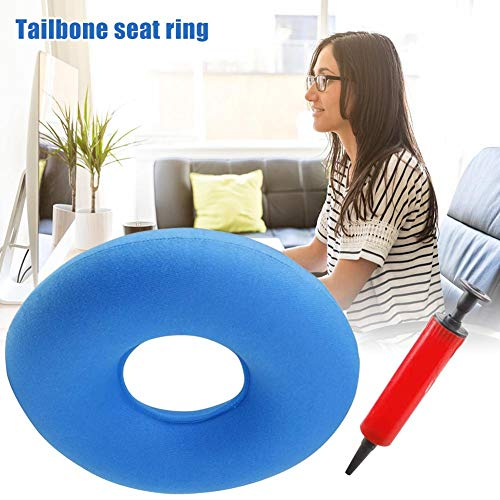 Alacritua Inflatable Portable Ring Seat Pillow Cushion,Relieves Pain From Hemorrhoids, Tailbone And Coccyx, Bed Sores, Perineal Pain, Sciatica Post Child Birth- Air Pump Included