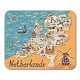 Alfombrillas de ratón Doodle Mapa de Ámsterdam de Países Bajos Viaje con Lugares de interés holandeses Gente Tradicional Holanda Comida País Alfombrilla de ratón