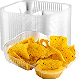 Anti-Spill Plastic Nacho Trays 125 Pack. Disposable 2 Compartment Boats Great for Dips, Snacks and...