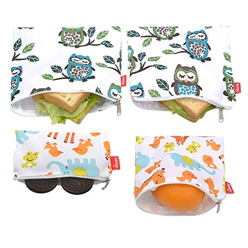 Reusable Sandwich & Snack Bags, Eco Friendly and Safe Sandwich Bags, Washable Lunch Bags (Large Owl and Giraff)
