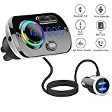 Bluetooth Car FM Transmitter,HIDOU Bluetooth 5.0 Car Radio Adapter Receiver with 7 Color
