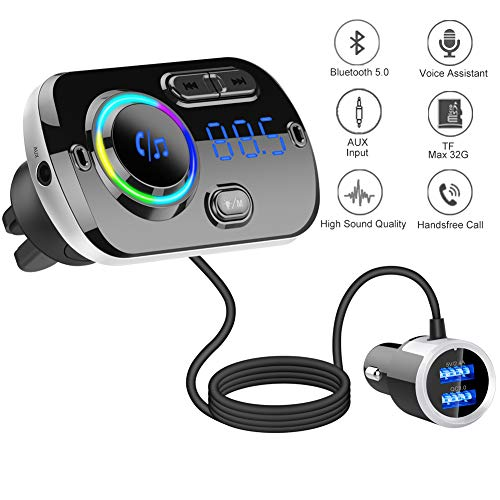 V 5.0 Bluetooth trasmettitore FM per auto MP3 Bluetooth Music Player kit vivavoce auto con Bass Booster Trasmettitore FM Play scheda TF // USB Flash Drive due porte USB 5V // 3.4A