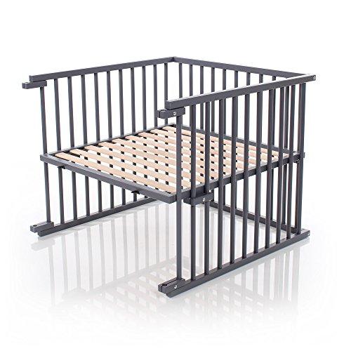 Kit de conversion pour lit bébé babybay, réglable en continu, adapté au lit d'appoint d'origine I Dimensions du lit bébé: 132 cm x 81 cm en bois de hêtre massif, laqué gris ardoise