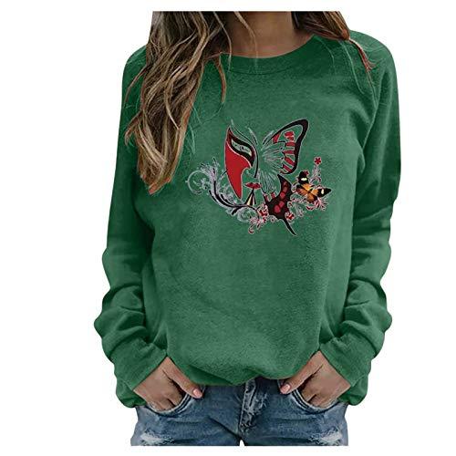 YANFANG Sudaderas Tops Casuales Damas Invierno para Mujer con Estampado de Girasol con Cuello rendondo Sudadera Blusa Camiseta Suéter 8 Colores