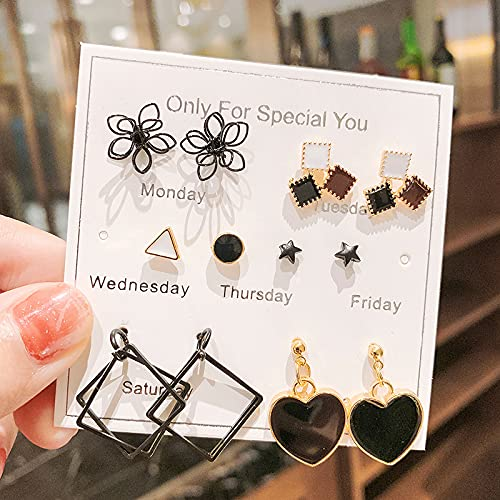WANGSHI Entenohrringe Einfache Mädchen Woche Ohrstecker Set Süße Kleine Frische Ohrringe p5 Temperament schwarz 6 Paare von 24