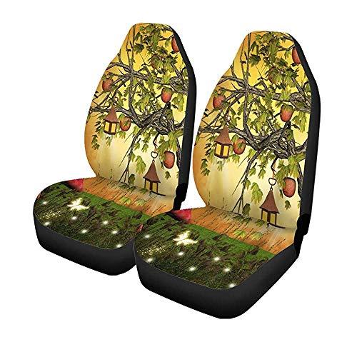 Set mit 2 Sitzbezügen für Autos, Apfel und Laternen für Baum, Forstbaum, Universal, für Auto, Glade Fantasy Glade 14-17 Zoll