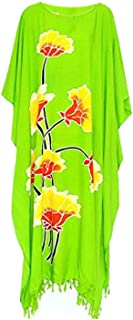 LOTUS Floral beach kaftan cool ladies long womens holiday summer flower plus new (Green)