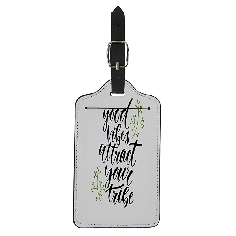 Semtomn Luggage Tag Artistic Good Vibes Attract Your Tribe Inspirational Lettering Hand Suitcase Baggage Label Travel Tag Labels