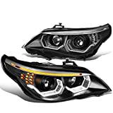 [HID Model without AFS] 3D LED Halo Projector HID Headlights Compatible with BMW E60 525 530 545 550 04-07, Driver and Passenger Side, Black Housing