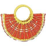 かごバッグ 20SS[Marshel]レディース 鞄 手提げ ストローバッグ トートバッグ かご編み 麦わら フルーツ 果物 海 ビーチ 花火 お祭り 水着 浴衣(オレンジ)バッグ