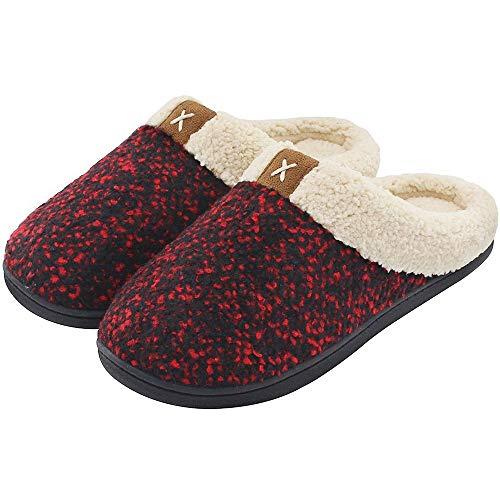 YXCM Memory Foam Pantoffeln Cozy Memory Foam Pantoffeln Für Herren Mit Flauschigem Wollplüsch, Warmem Und Atmungsaktivem Futter Und Rutschfester Gummisohle,Reddot,11