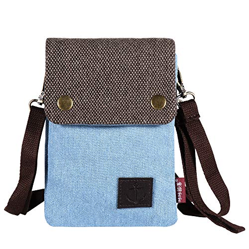 Gcepls Canvas Small Cute Crossbody Cell Phone Purse Wallet Bag with Shoulder Strap for iPhone X,iPhone 8 Plus,iPhone 6 6s 7 Plus, Samsung Galaxy S7 Edge S8 Edge (Fits with OtterBox Case)-Blue