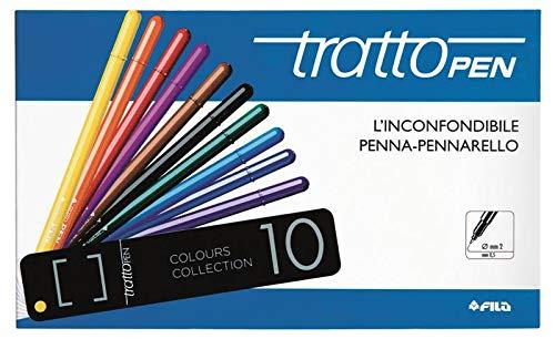 Fila Scatola in Metallo 10 Tratto Pen-Diametro 0,5Mm Penne con Punta in, Multicolore, 8000825835407