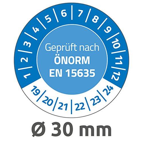 AVERY Zweckform 6991-2019 onvervalsbare testplaketten 2019-2024 (zelfklevend, klein formaat, Ø 30 mm, 80 stickers op 10 vellen, handbeschrijfbare plakfolie voor de identificatie van inventaris, blauw