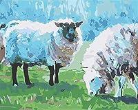 大人のための数字による羊を食べる草DIYペイント子供のためのキャンバス油絵キット大人3つのブラシを持つ初心者顔料クリスマスの装飾16x20インチフレームなし