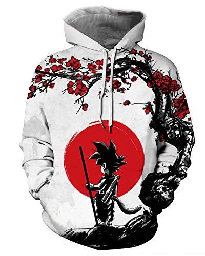 Men Dragon Ball 3D Print Pullover Hoodie Sweatshirt with Kangaroo Pocket,XX-Large/XXX-Large