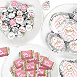 Hello Little One - Pink and Gold - Mini Candy Bar Wrappers, Round Candy Stickers and Circle Stickers - Girl Baby Shower Candy Favor Sticker Kit - 304 Pieces