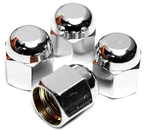 PRESKIN Ventilkappen, 4 x HEXADOME Auto-Ventilkappe aus Messing + Chrom, Ventildeckel, für Reifenventile