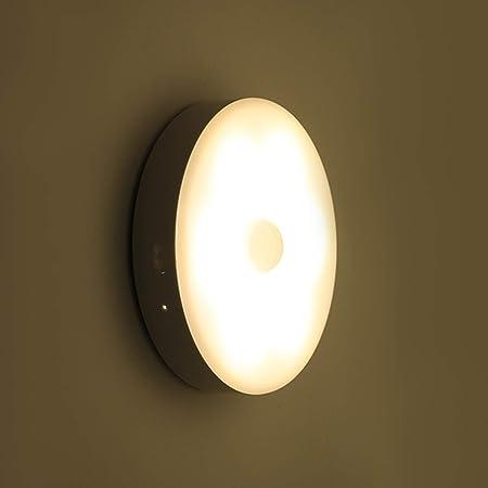 Husmeu Veilleuse LED Sans Fil, 180 Jours de Utilisation Chargé USB Une Fois, Auto-Détecteur du Mouvement, Lumière de Placard de 3 Niveaux Luminosité pour Chambre, Salon, Garage, Couloir Jaune