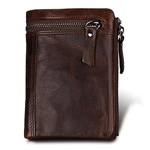 Hibate Men's Leather Wallets RFID Blocking Wallet for Men Credit Card Holder Coin Pocket Purse - Vintage_Chocolate