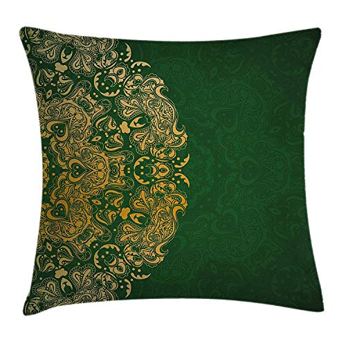 Funda de cojín de color esmeralda, inspiraciones de la cultura oriental en curvas de diseño de mandala de colores vibrantes, funda de almohada decorativa cuadrada, 45,7 x 45,7 cm, mostaza esmeralda