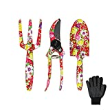 3 Piece Garden Tool Set - Aluminum Gardening Tools with Floral Print - Trowel, Cultivator, Pruning Shear, and Exquisite packaging, Gift Set for Gardening Needs