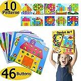 Puzzle 3D Mosaico Infantiles de Fichas, Juego de Rompecabezas de Aprendizaje Minds Color Match Art Puzzle, Tablero de Coincidir Colores con 46 botones y 10 imágenes, Juguete de Tablero Educativo