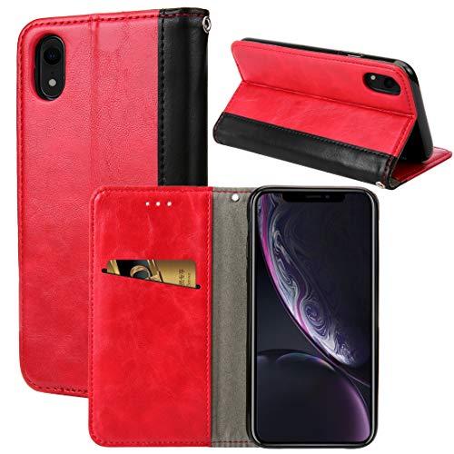 YIHUI Funda Protectora Diseño Retro del Libro Vuelta Horizontal PU del Caso de Cuero for el iPhone XR, con el sostenedor y Ranuras for Tarjetas (Negro) (Color : Red)