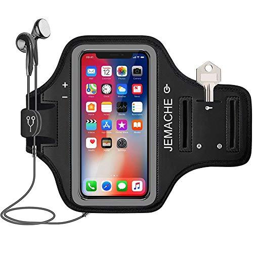 iPhone 13 Pro, 12 Pro, 11 Pro, X, XS Armband, JEMACHE Gym Laufen Übung Workouts Arm Band Case für iPhone 13Pro, 12Pro, 11Pro, X, XS mit Karte Halter (Schwarz)
