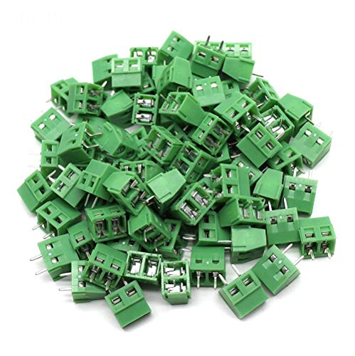Yootop 50Pcs 5mm/0.2'' Pitch 2Pin PCB Mount Screw Terminal Block Connector 300V 10A Green