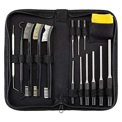BOOSTEADY All-in-One Gun Cleaning Kit with Grip Roll Pin Punch Tool Set, Gun Cleaning Brush Pick Kit, Anti-Rust Silicone Cloth in Zippered Organizer Space Saving Carry Case (15 Pieces)