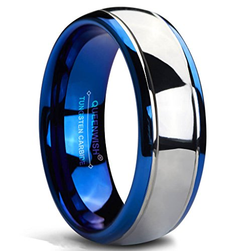 Queenwish 8mm Tungsten Carbide Wedding Bands Blue Silver Dome Bridal Rings for Girlfriend 6